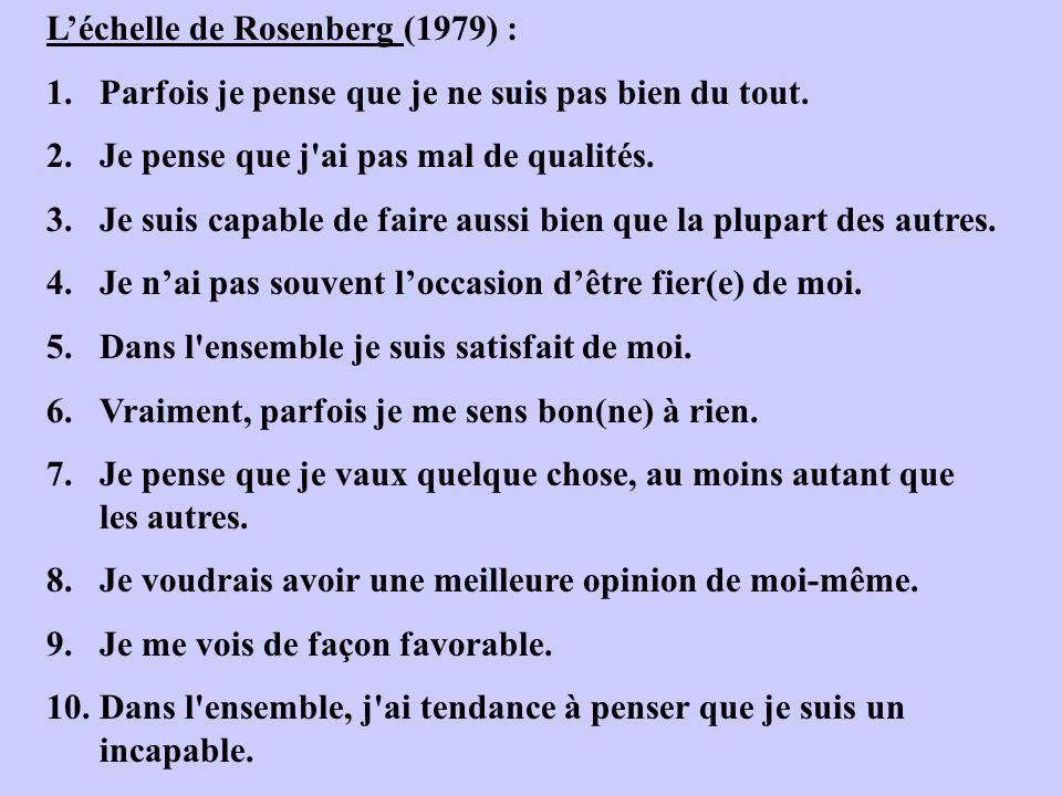 L'échelle de Rosenberg (1979) :