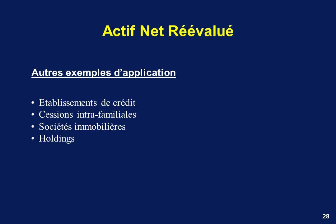 Actif Net Réévalué Autres exemples d'application
