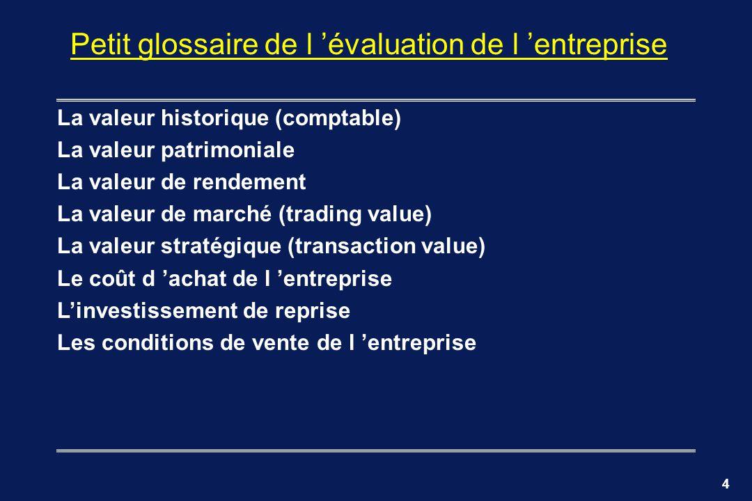 Petit glossaire de l 'évaluation de l 'entreprise