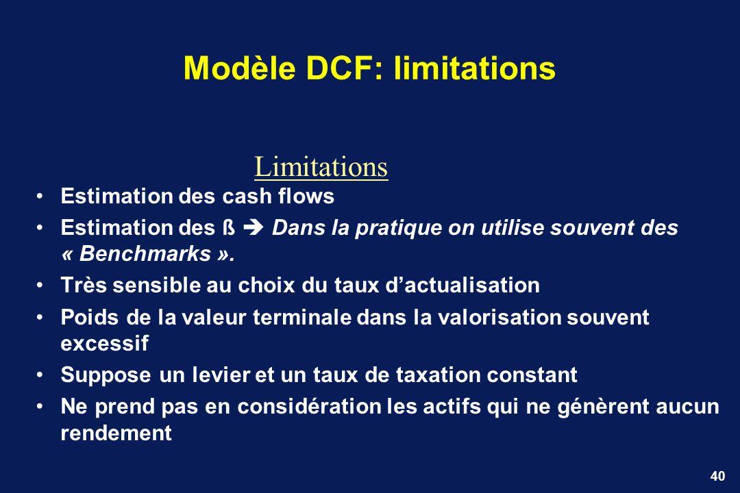 Modèle DCF: limitations
