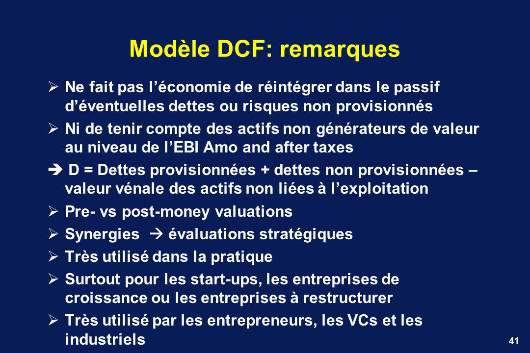 Modèle DCF: remarques Ne fait pas l'économie de réintégrer dans le passif d'éventuelles dettes ou risques non provisionnés.