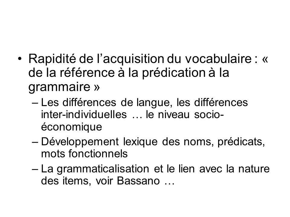 Rapidité de l'acquisition du vocabulaire : « de la référence à la prédication à la grammaire »