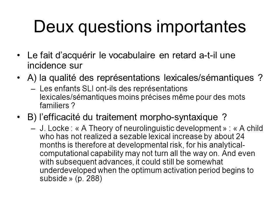 Deux questions importantes