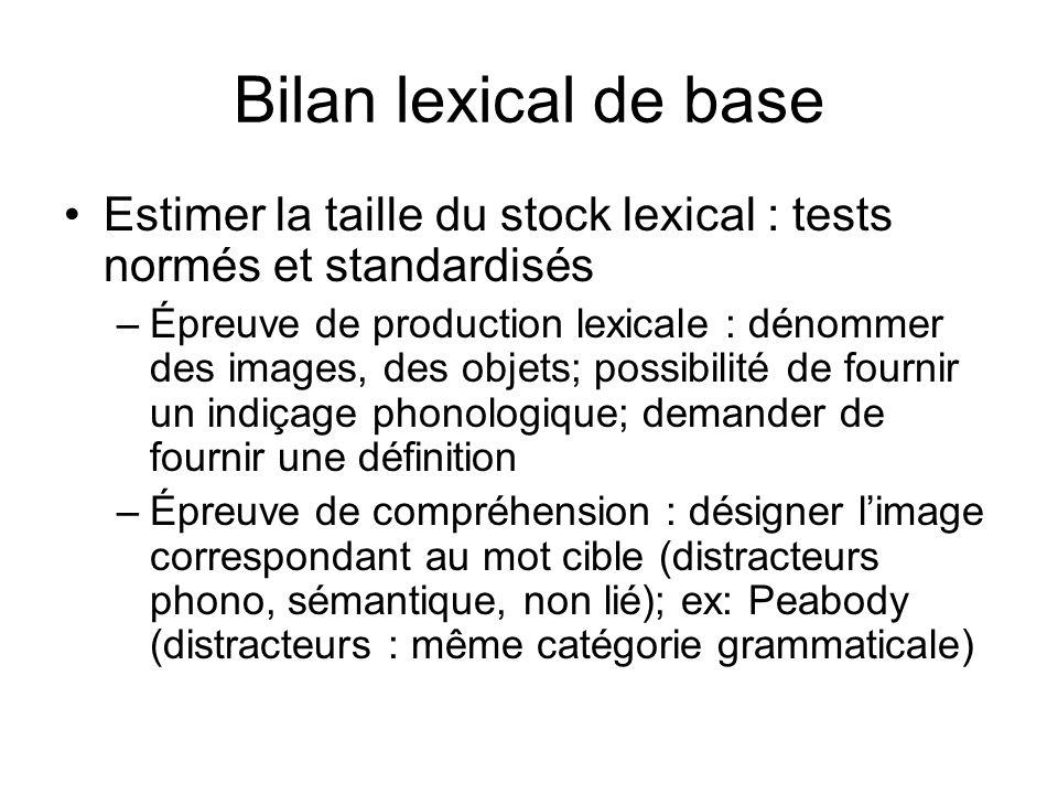 Bilan lexical de base Estimer la taille du stock lexical : tests normés et standardisés.