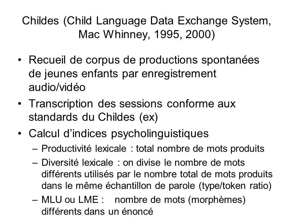 Childes (Child Language Data Exchange System, Mac Whinney, 1995, 2000)