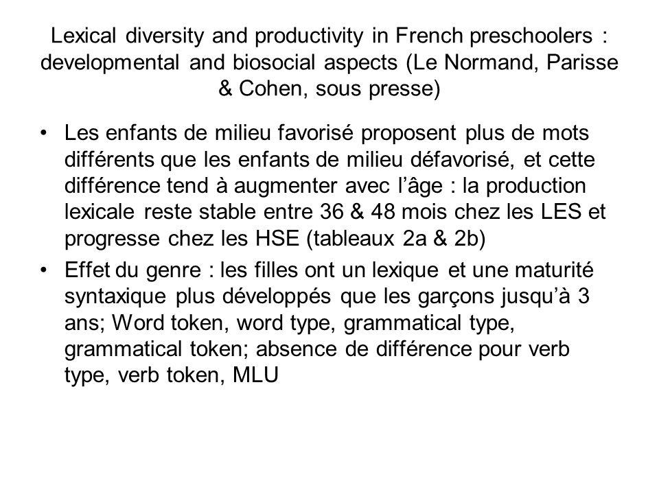Lexical diversity and productivity in French preschoolers : developmental and biosocial aspects (Le Normand, Parisse & Cohen, sous presse)