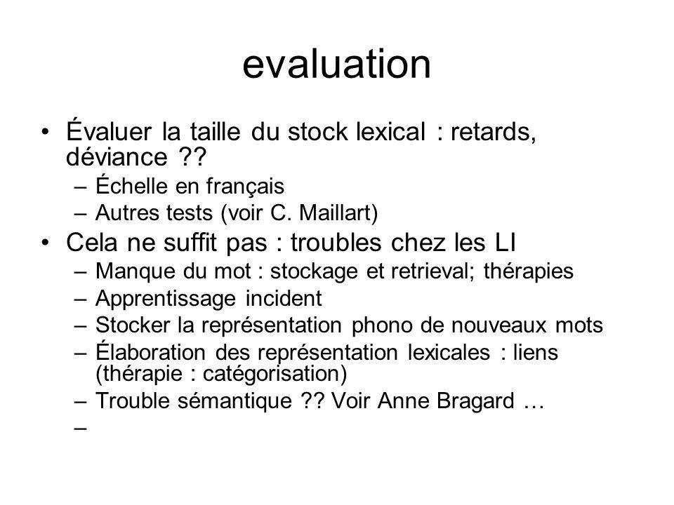 evaluation Évaluer la taille du stock lexical : retards, déviance