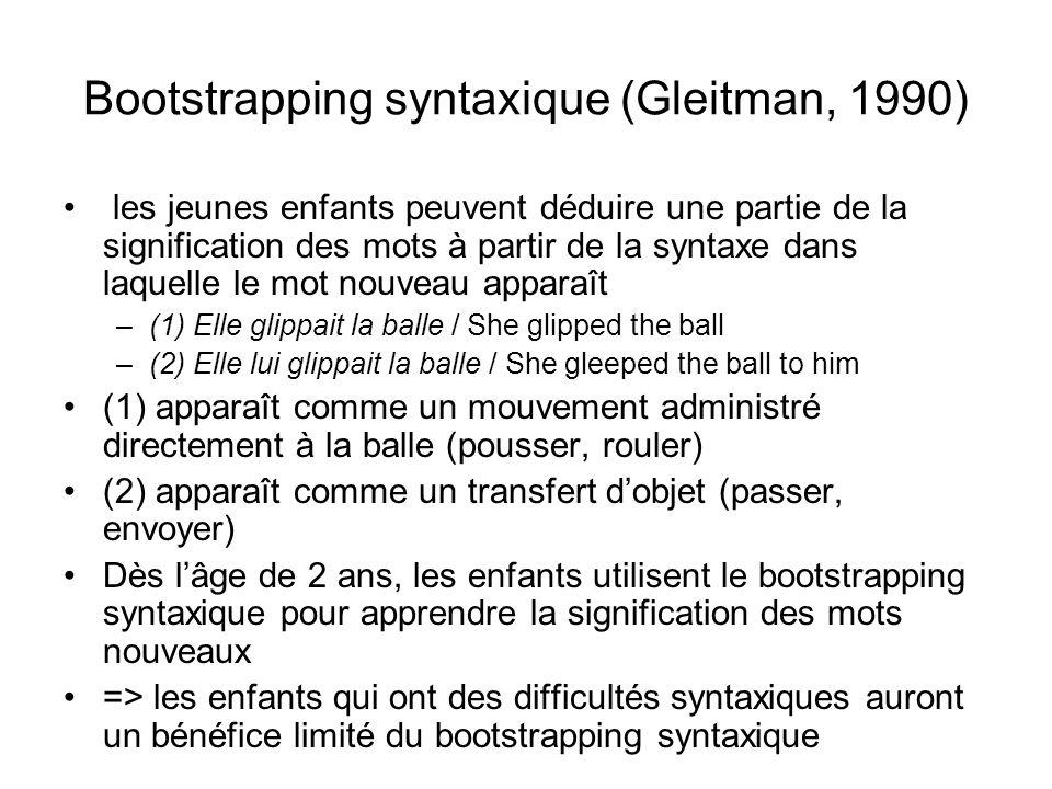 Bootstrapping syntaxique (Gleitman, 1990)