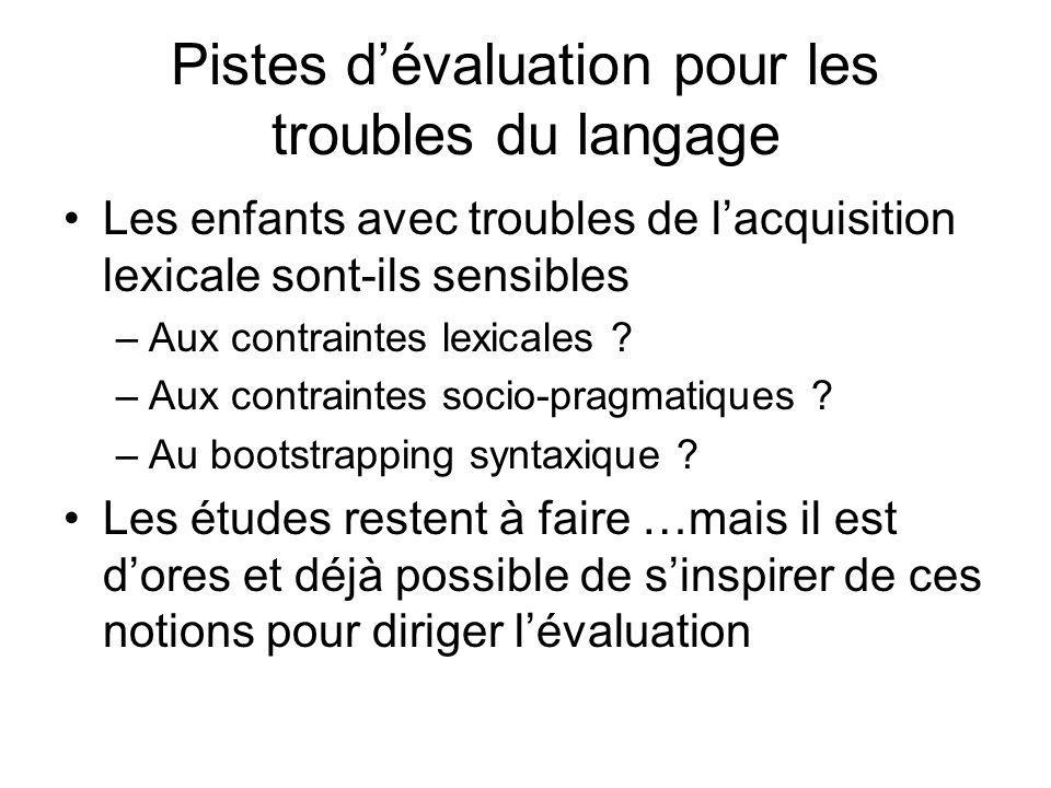 Pistes d'évaluation pour les troubles du langage