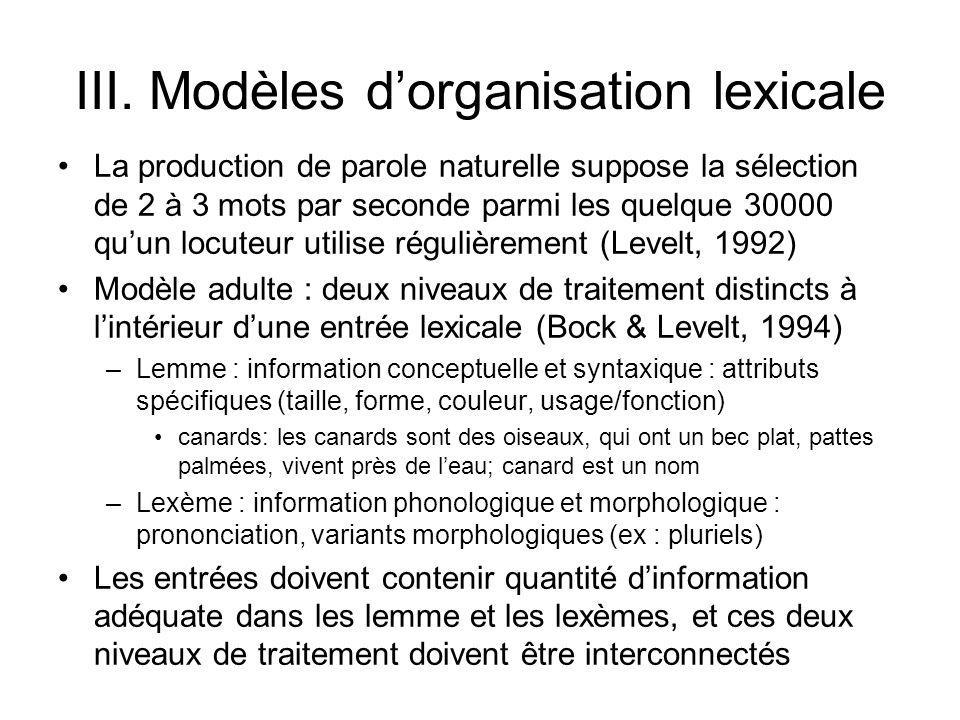 III. Modèles d'organisation lexicale