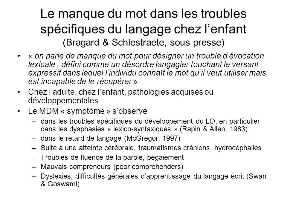 Le manque du mot dans les troubles spécifiques du langage chez l'enfant (Bragard & Schlestraete, sous presse)