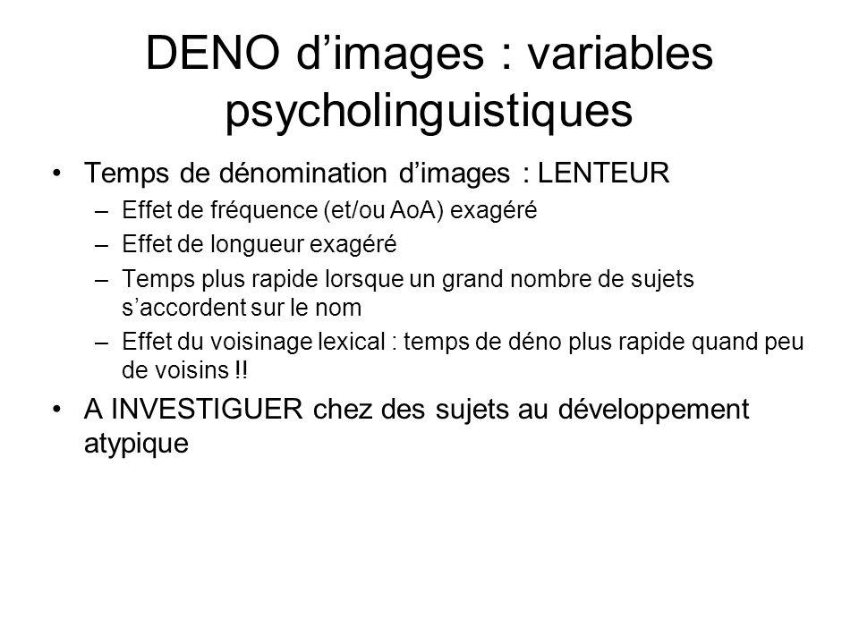 DENO d'images : variables psycholinguistiques