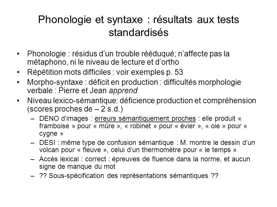 Phonologie et syntaxe : résultats aux tests standardisés