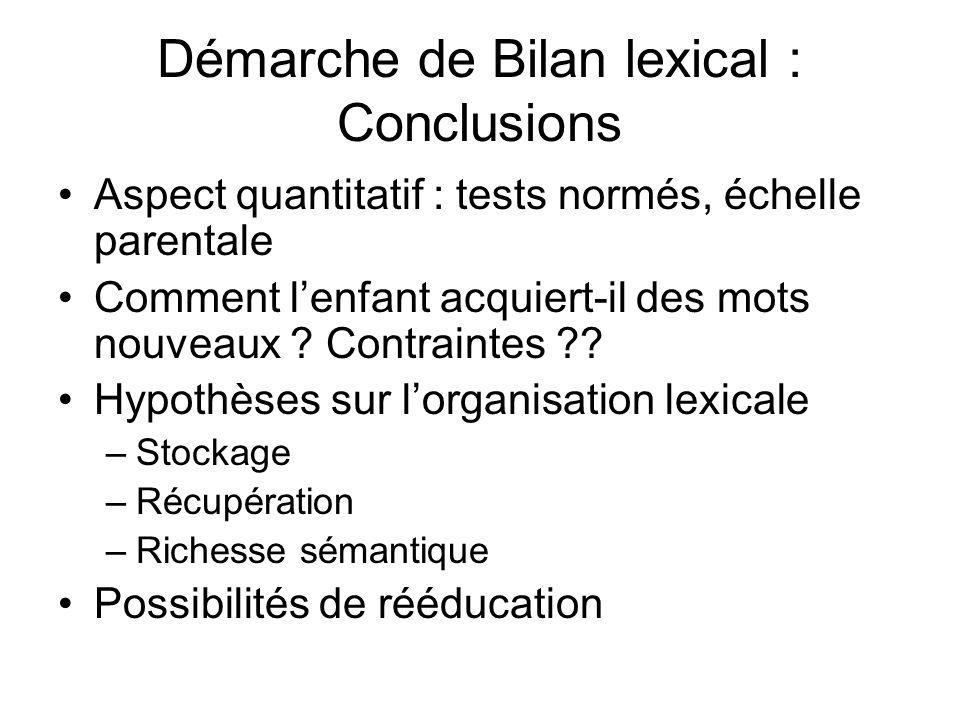 Démarche de Bilan lexical : Conclusions