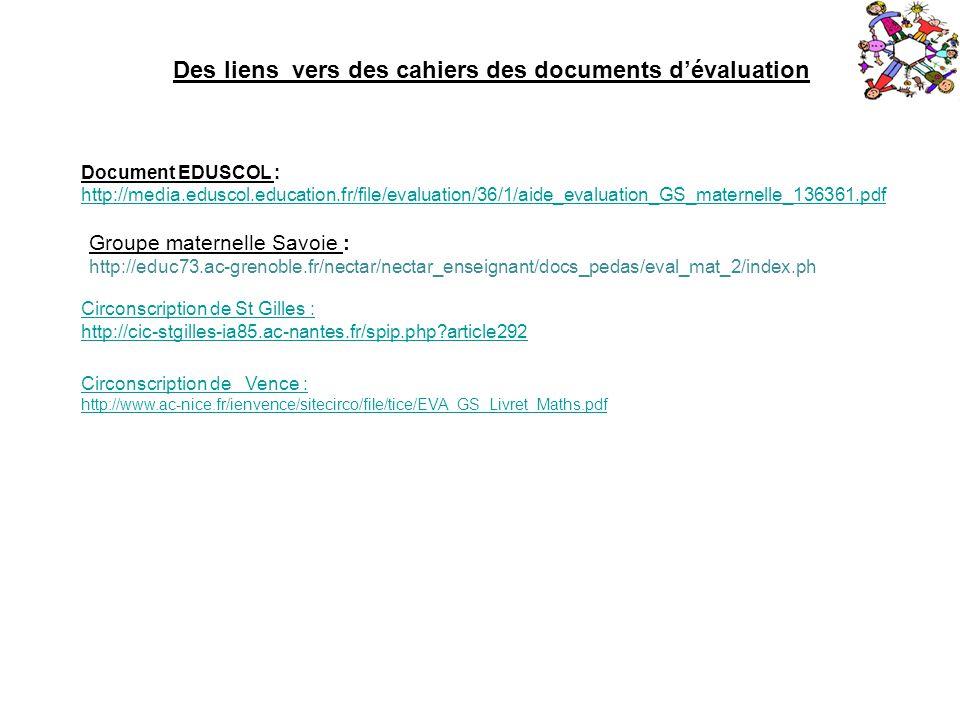Des liens vers des cahiers des documents d'évaluation