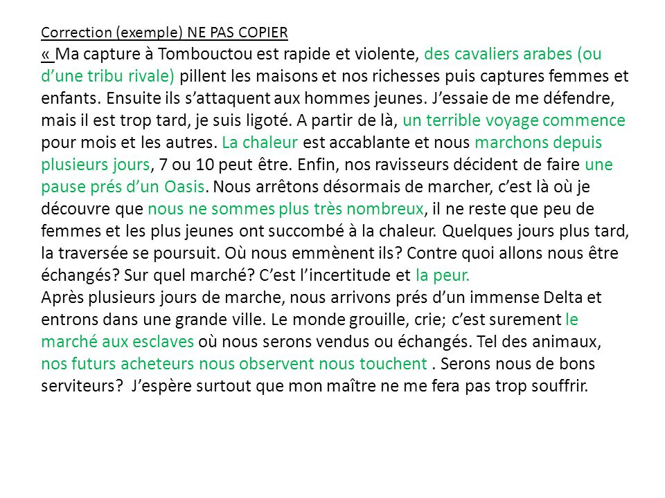 Correction (exemple) NE PAS COPIER