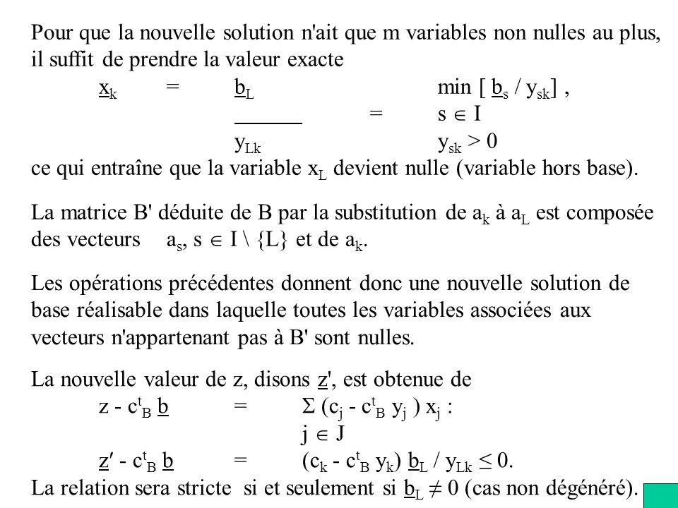 Pour que la nouvelle solution n ait que m variables non nulles au plus,