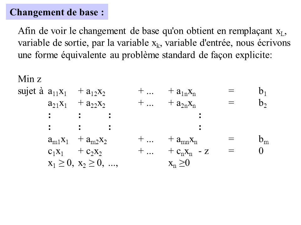 Changement de base : Afin de voir le changement de base qu on obtient en remplaçant xL,