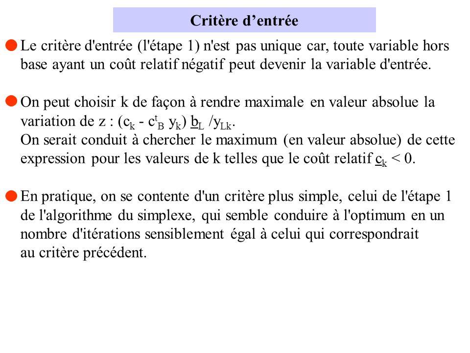 Critère d'entrée Le critère d entrée (l étape 1) n est pas unique car, toute variable hors.