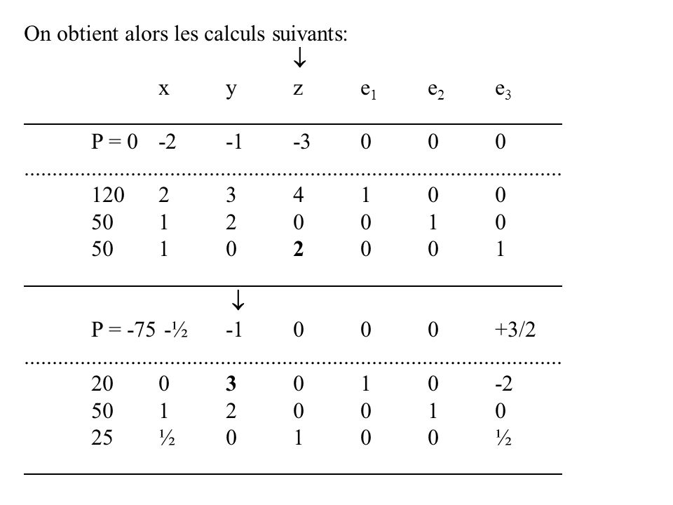 On obtient alors les calculs suivants: