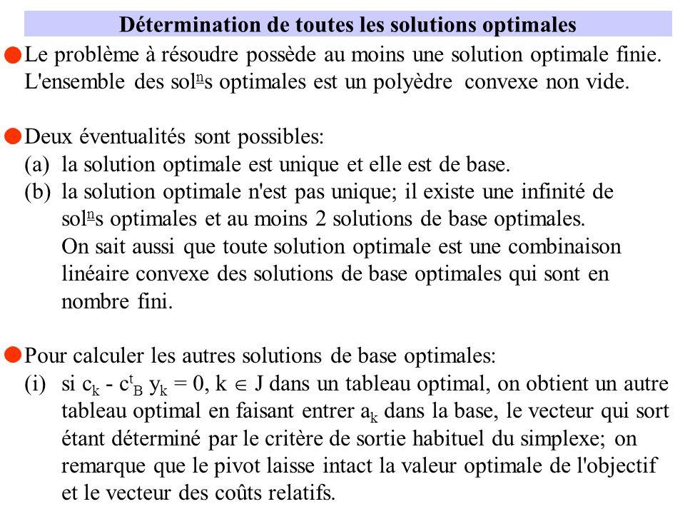 Détermination de toutes les solutions optimales