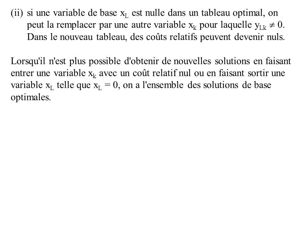 si une variable de base xL est nulle dans un tableau optimal, on