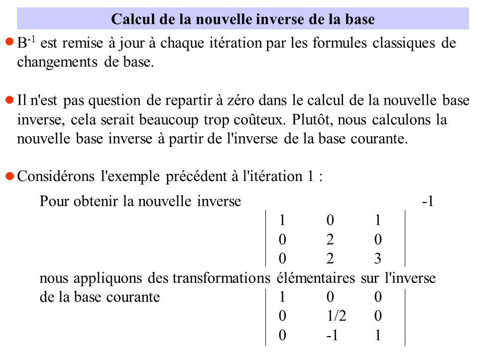 Calcul de la nouvelle inverse de la base