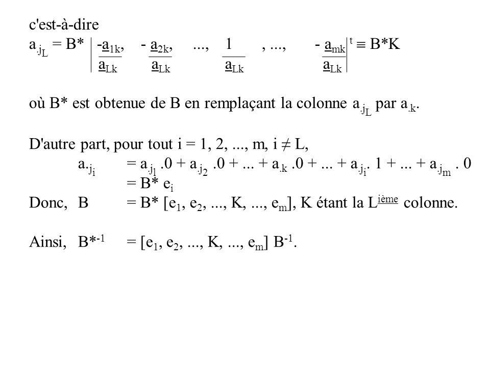 c est-à-dire a.jL = B* -a1k, - a2k, ..., 1 , ..., - amk t  B*K. aLk aLk aLk aLk.