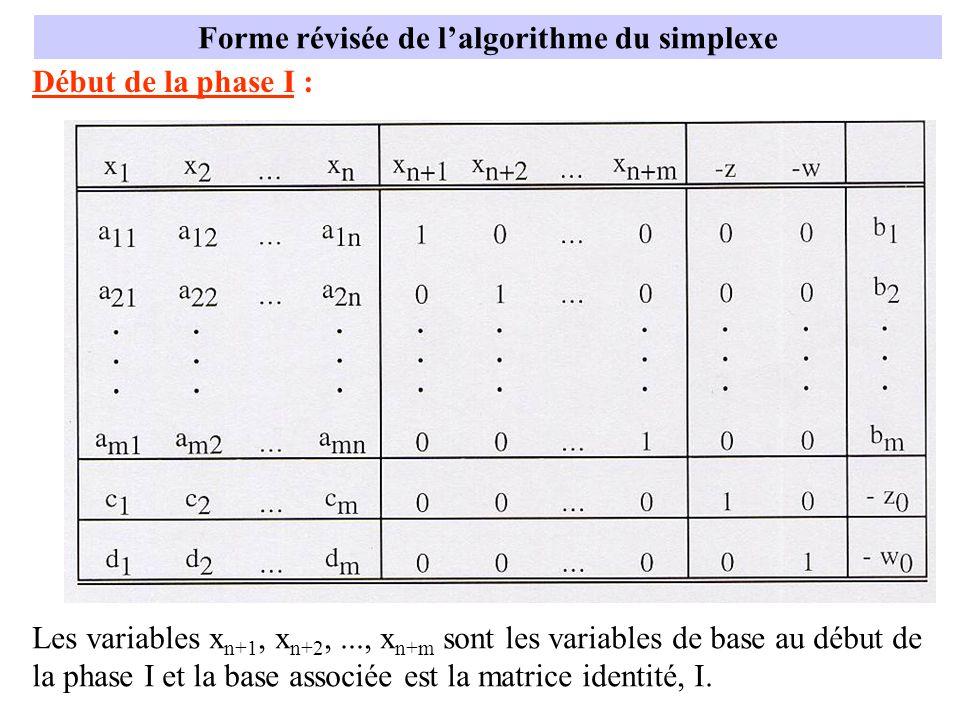 Forme révisée de l'algorithme du simplexe