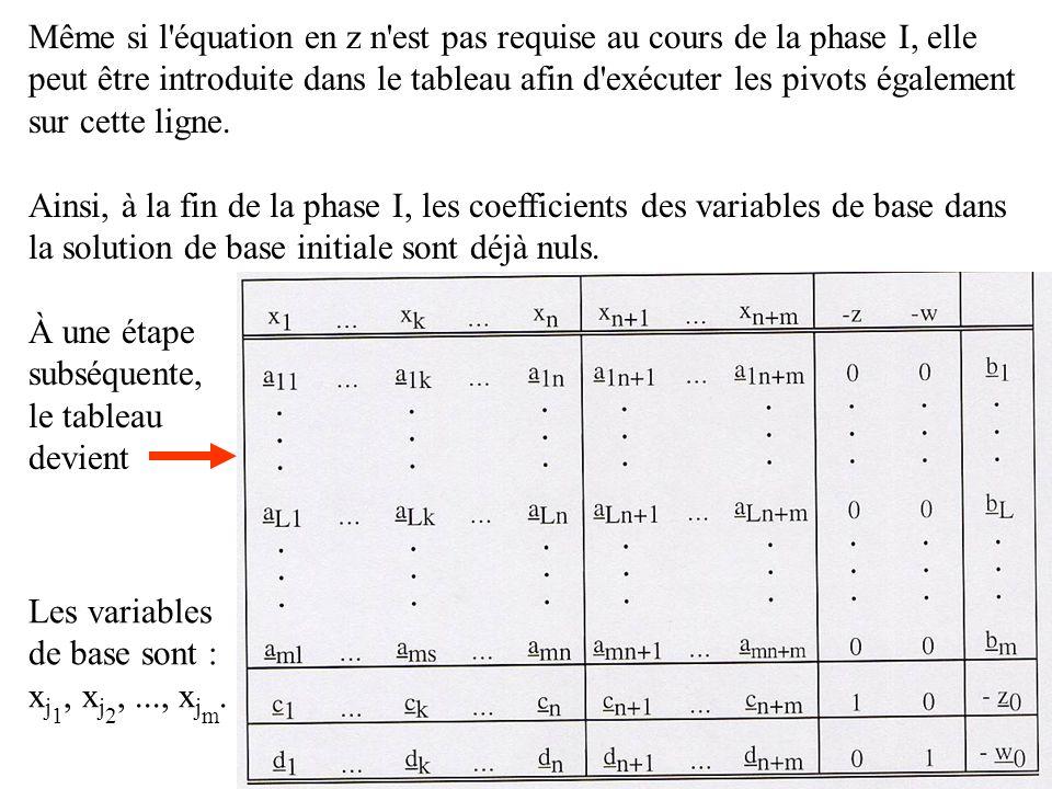 Même si l équation en z n est pas requise au cours de la phase I, elle