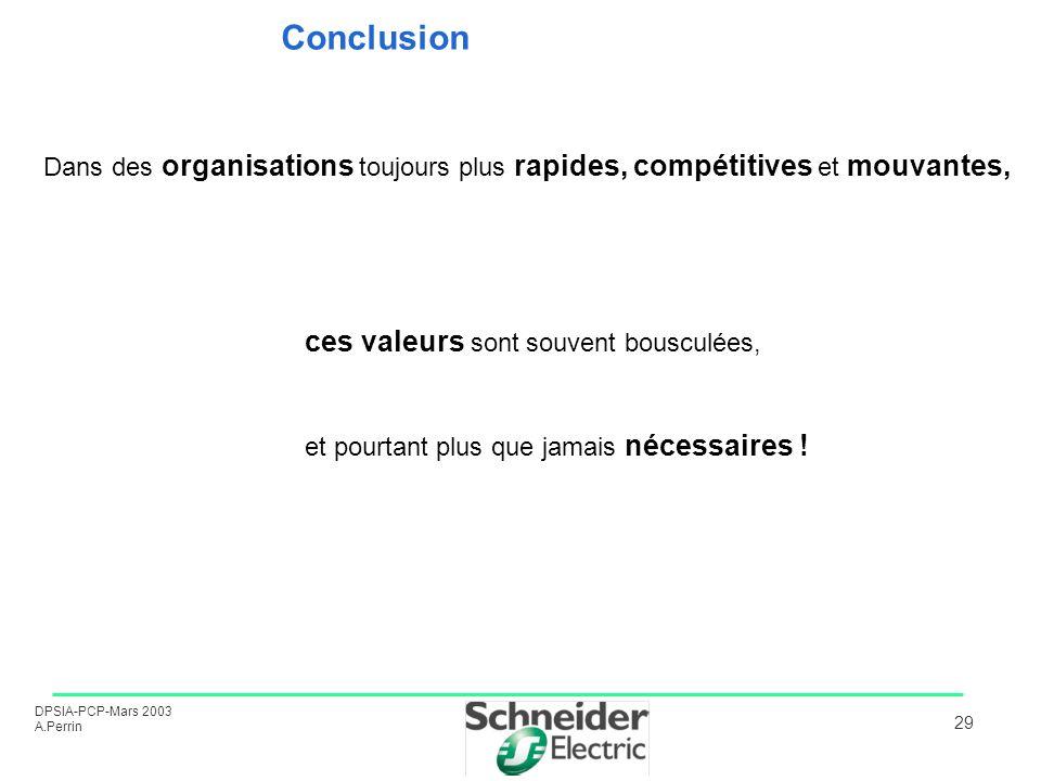 Conclusion Dans des organisations toujours plus rapides, compétitives et mouvantes,