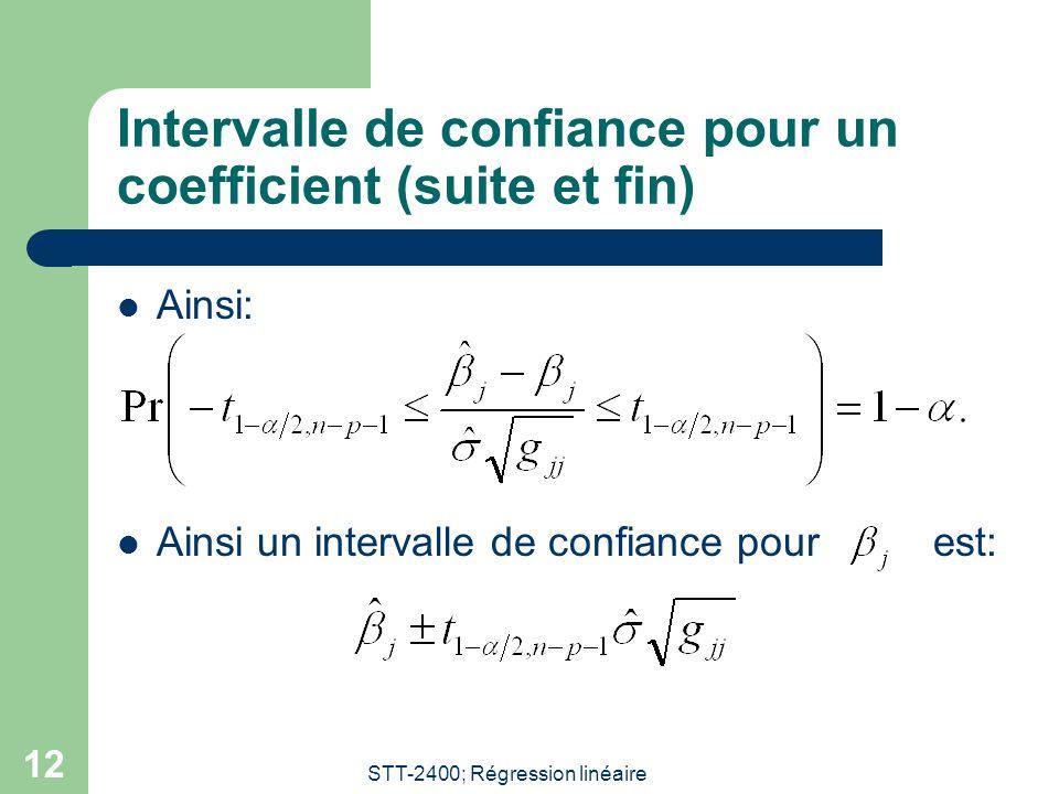 Intervalle de confiance pour un coefficient (suite et fin)