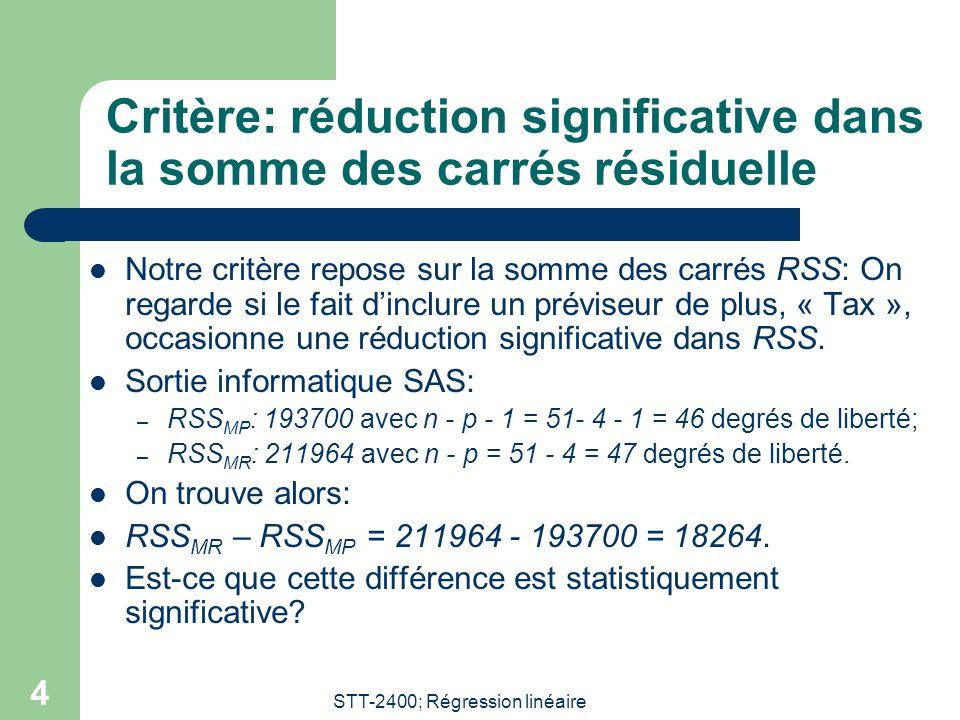 Critère: réduction significative dans la somme des carrés résiduelle