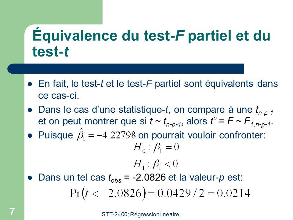 Équivalence du test-F partiel et du test-t