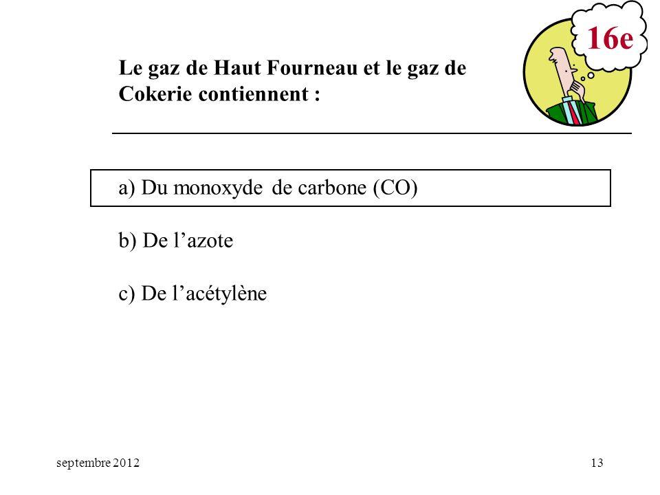16e Le gaz de Haut Fourneau et le gaz de Cokerie contiennent :
