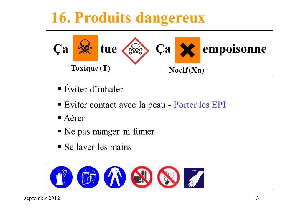 16. Produits dangereux Ça tue Ça empoisonne Éviter d'inhaler
