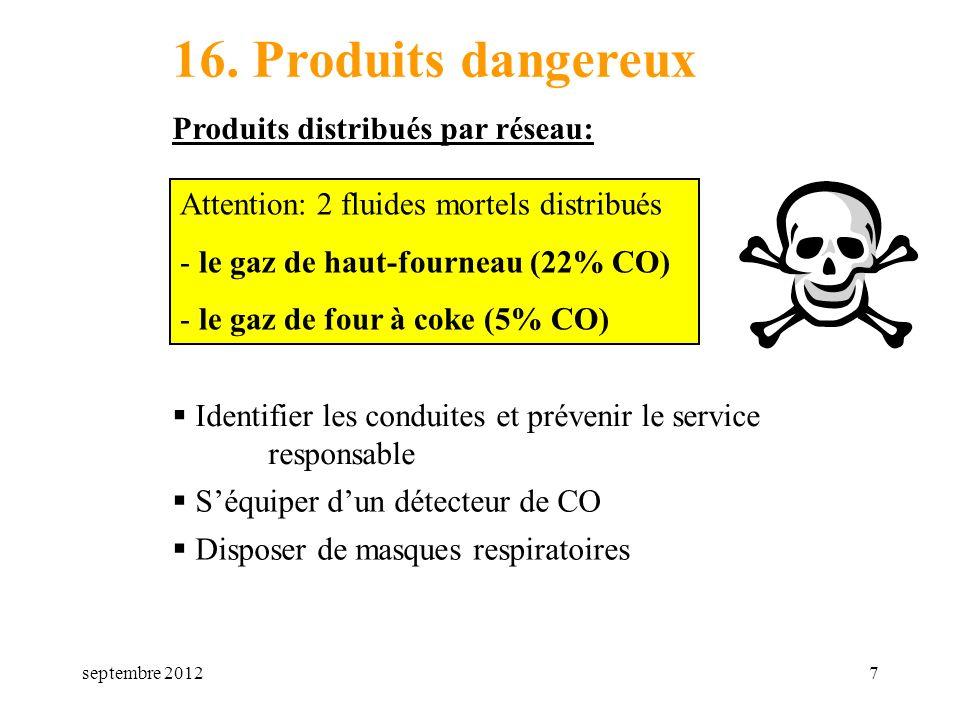 16. Produits dangereux Produits distribués par réseau: