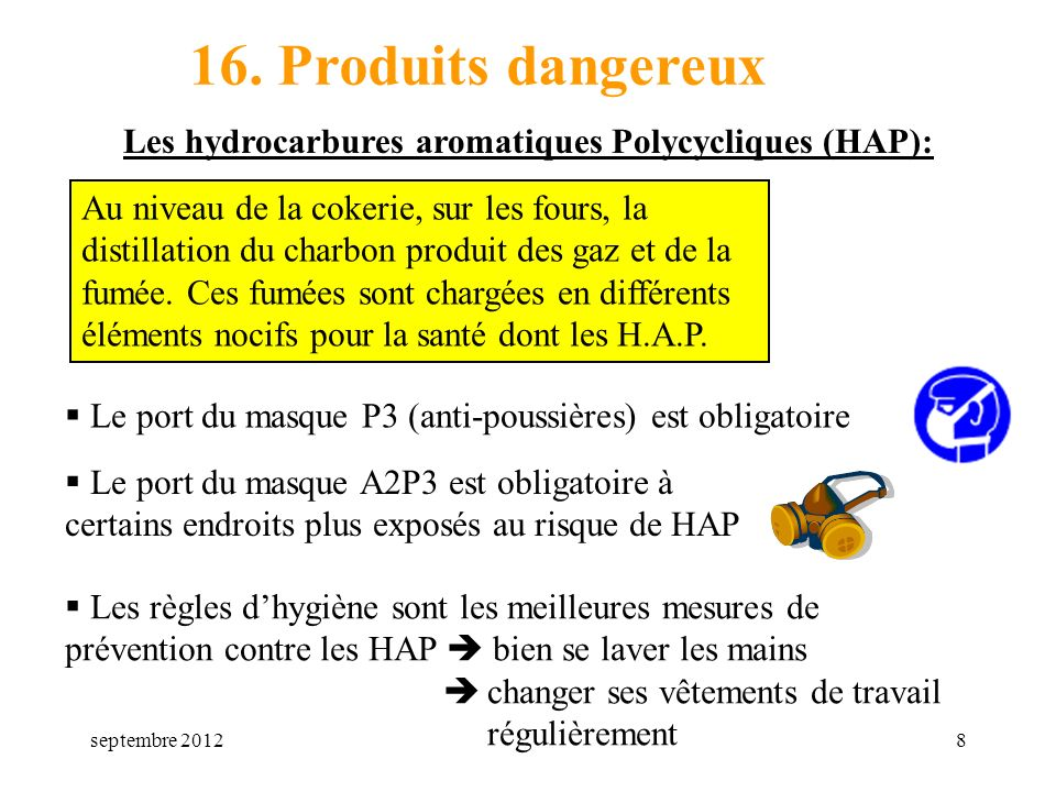 mars 1716. Produits dangereux. Les hydrocarbures aromatiques Polycycliques (HAP):