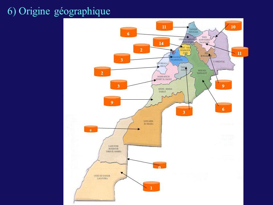 6) Origine géographique
