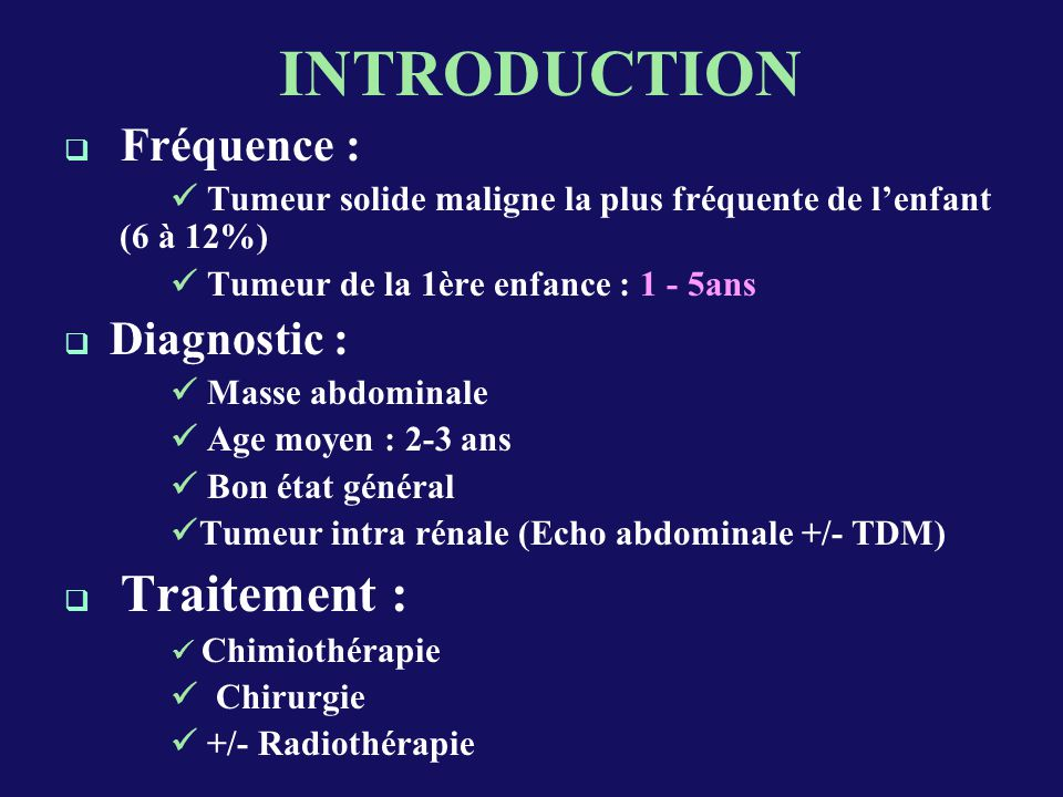 INTRODUCTION Fréquence : Diagnostic : Traitement :