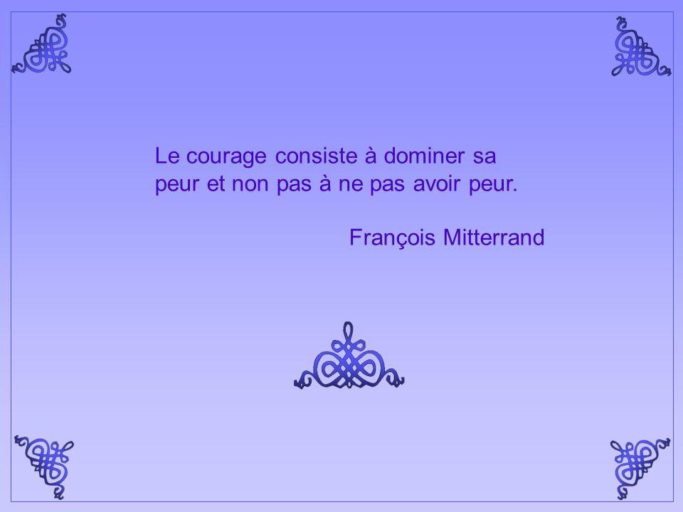 Le courage consiste à dominer sa peur et non pas à ne pas avoir peur.
