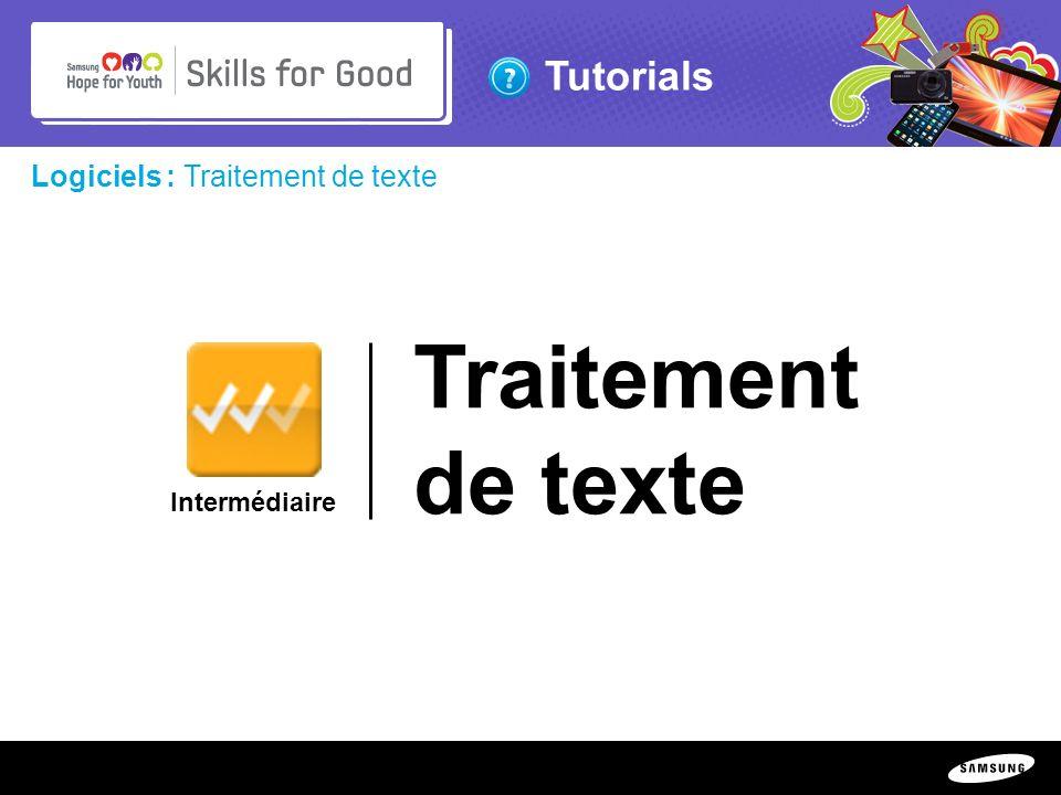 Traitement de texte Logiciels : Traitement de texte Intermédiaire