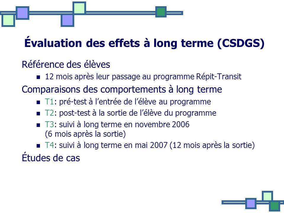 Évaluation des effets à long terme (CSDGS)