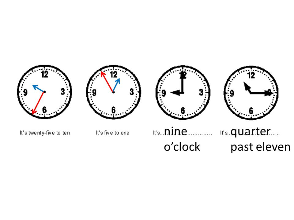 nine o'clock quarter past eleven