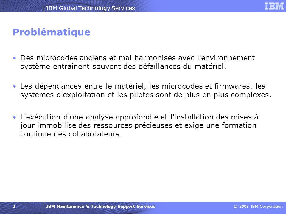Problématique Des microcodes anciens et mal harmonisés avec l environnement système entraînent souvent des défaillances du matériel.