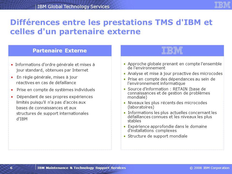 Différences entre les prestations TMS d IBM et celles d un partenaire externe