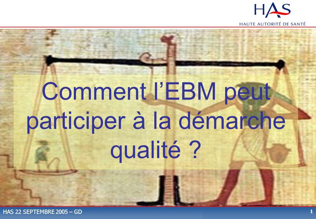 Comment l'EBM peut participer à la démarche qualité