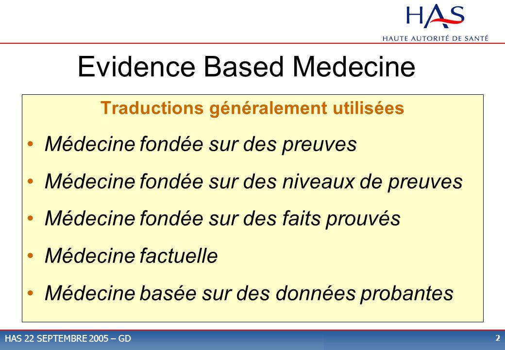 Evidence Based Medecine