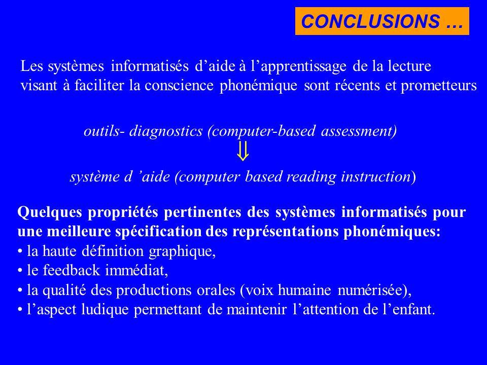 CONCLUSIONS … Les systèmes informatisés d'aide à l'apprentissage de la lecture.