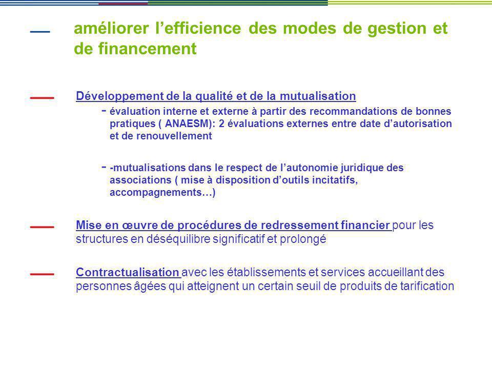 améliorer l'efficience des modes de gestion et de financement